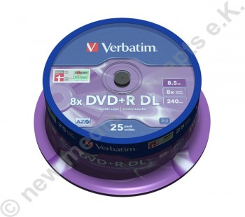 25 Verbatim DVD+R 8x, 8,5 GB, Matt Silver Surface, Cakebox