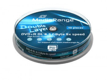 10 MediaRange DVD Rohlinge DVD+R Double Layer 8,5GB 8x Cakebox
