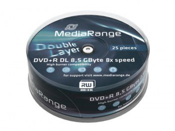 25 MediaRange DVD Rohlinge DVD+R Double Layer 8,5GB 8x Cakebox