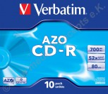 10 Verbatim CD-R AZO Crystal Surface 700 MB Jewelcase