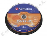 10 Verbatim DVD-R 16x Speed 4,7GB DVD-Rohlinge AZO