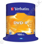 100 Verbatim DVD-R 16x Speed 4,7GB DVD-Rohlinge Matt Silver