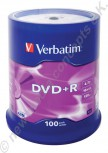 100 Verbatim DVD+R 16x Speed 4,7GB DVD-Rohlinge Matt Silver