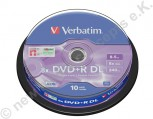 10 Verbatim DVD+R 8x, 8,5 GB, Matt Silver Surface, Cakebox