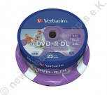 25 Verbatim DVD+R 8x, 8,5 GB, Wide Printable Surface, Cakebox
