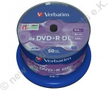 50 Verbatim DVD+R 8x, 8,5 GB, Matt Silver Surface, Cakebox