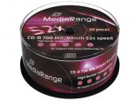 50 MediaRange CD Rohlinge, CD-R 52x 700MB/80min Cakebox